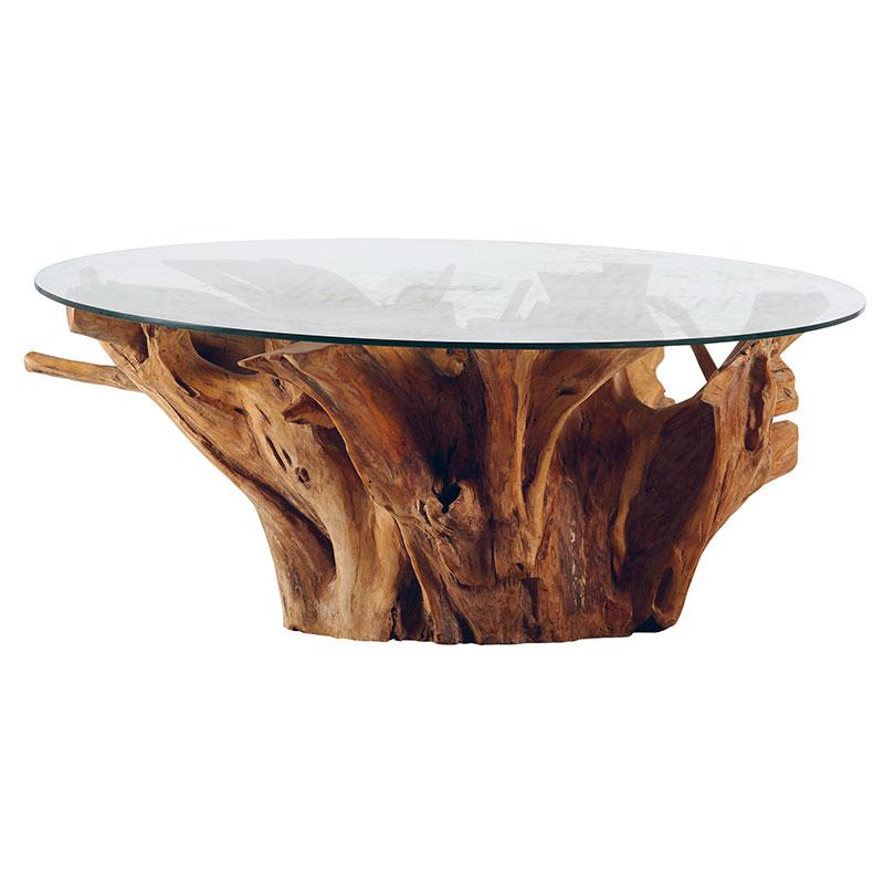 Table Basse Racine Teck Plateau Verre Boisdeco Nord