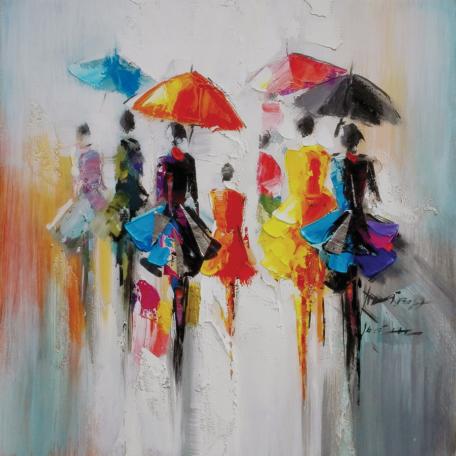 Tableau femmes aux parapluies format carré 60 x 60cm