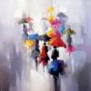 Tableau peinture femmes parapluies format carré couleurs