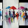 Tableau femmes aux parapluies en 4 parties