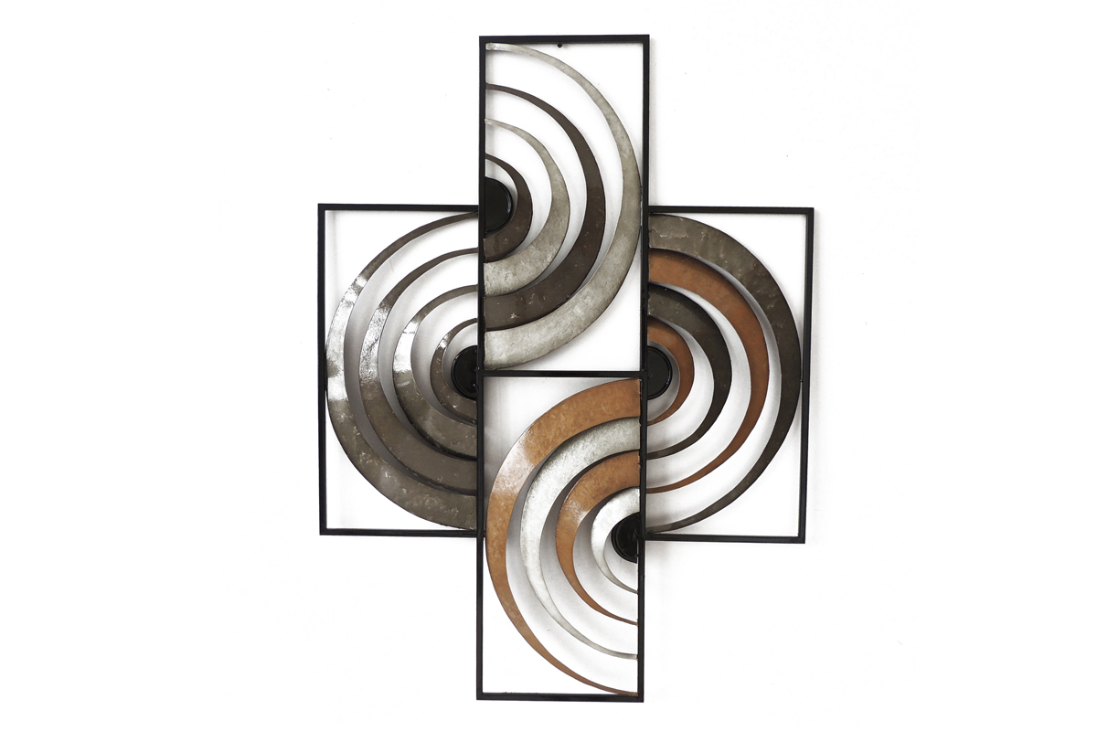 Decoration Murale Metal Abstrait Arcs Cercles Concentriques