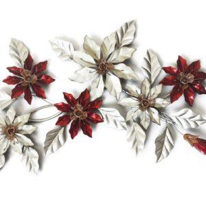 decoration-murale-fleurs-blanches-rouges-metal-boisetdeco