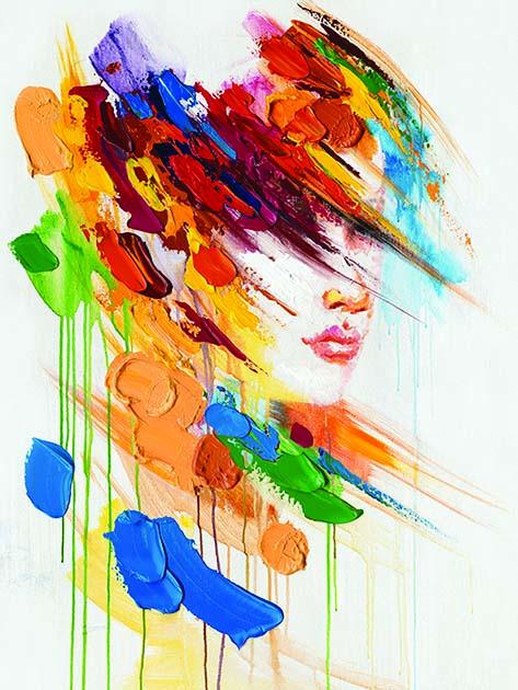 Tableau Peinture Visage Femme Couleur Deco Bois Deco Nord