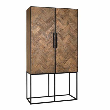 armoire-2-portes-HERRINGBONE-bois-vieux-chene-chevron-metal-richmond-interiors