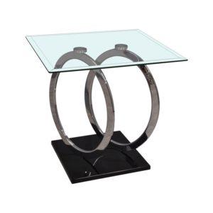 Bout de canape design en verre et metal modele ANNEAUX