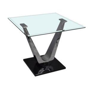 Bout de canape en verre et metal modele VARIANCE