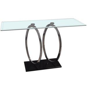 Console design en verre et metal collection ANNEAUX