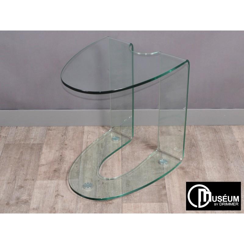 bout de canap en verre design drimmer transparent ou noir bois deco. Black Bedroom Furniture Sets. Home Design Ideas