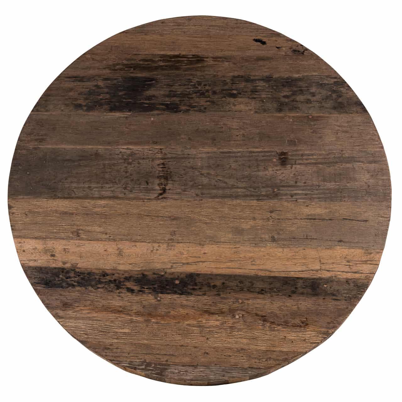 table design ronde plateau bois recyce pied central acier. Black Bedroom Furniture Sets. Home Design Ideas