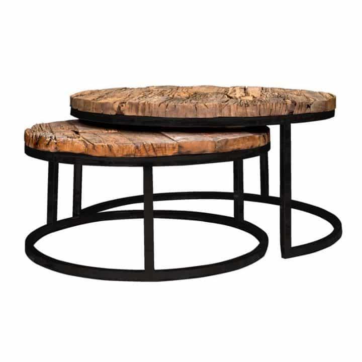 Tables Gigognes Richmond Interiors Plateau Rond Bois Pied Metal
