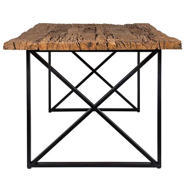 Table Industrielle Pieds Metal Plateau Bois Recycle Boisdeco Meubles