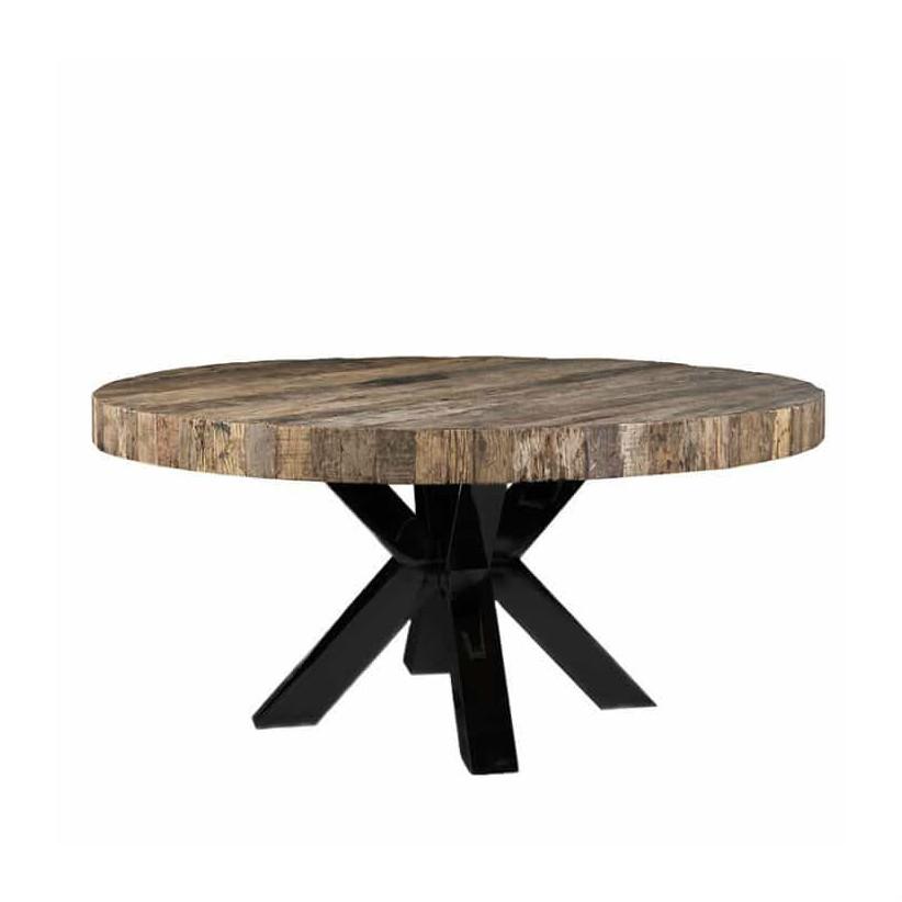 Table design industriel pied metal acier plateau rond bois bois deco nord for Table bois pied metal