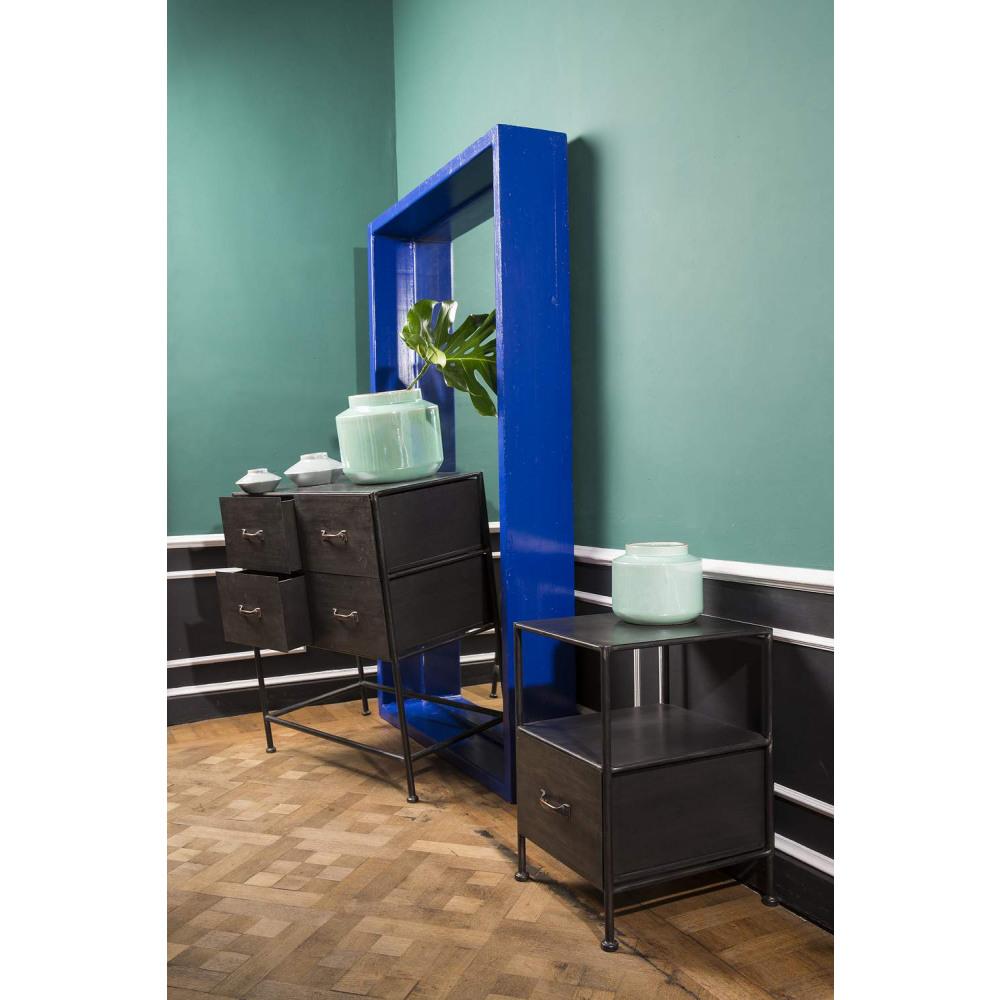 armoire commode style industriel metal acier noir vieilli. Black Bedroom Furniture Sets. Home Design Ideas