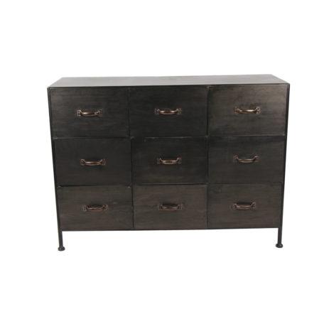 armoire-metal-noir-9-tiroirs-industriel-pomax-magasin-decoration-boisetdeco-cambresis-nord