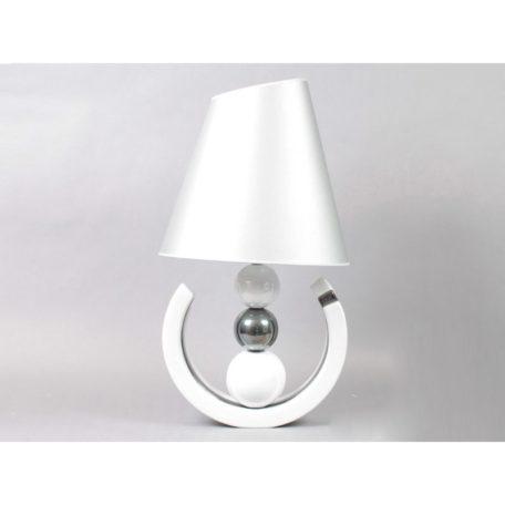 Lampe design 3 boules blanc et chrome