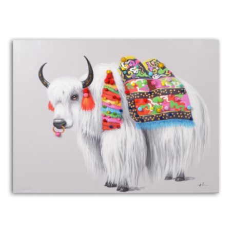 Tableau peinture sur toile yak selle coloree