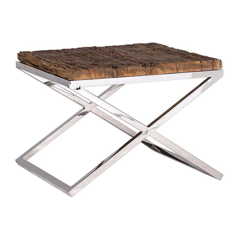 Table Appoint Richmond Interiors Bois Brut Et Metal Chrome Kensington