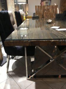 table salle a manger bois brut pied metal chrome plateau verre magasin boisetdeco cambresis nord. Black Bedroom Furniture Sets. Home Design Ideas