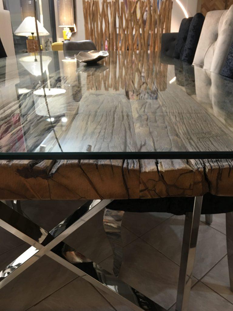 Table Plateau Bois Brut Pied Metal Chrome Design Boisetdeco
