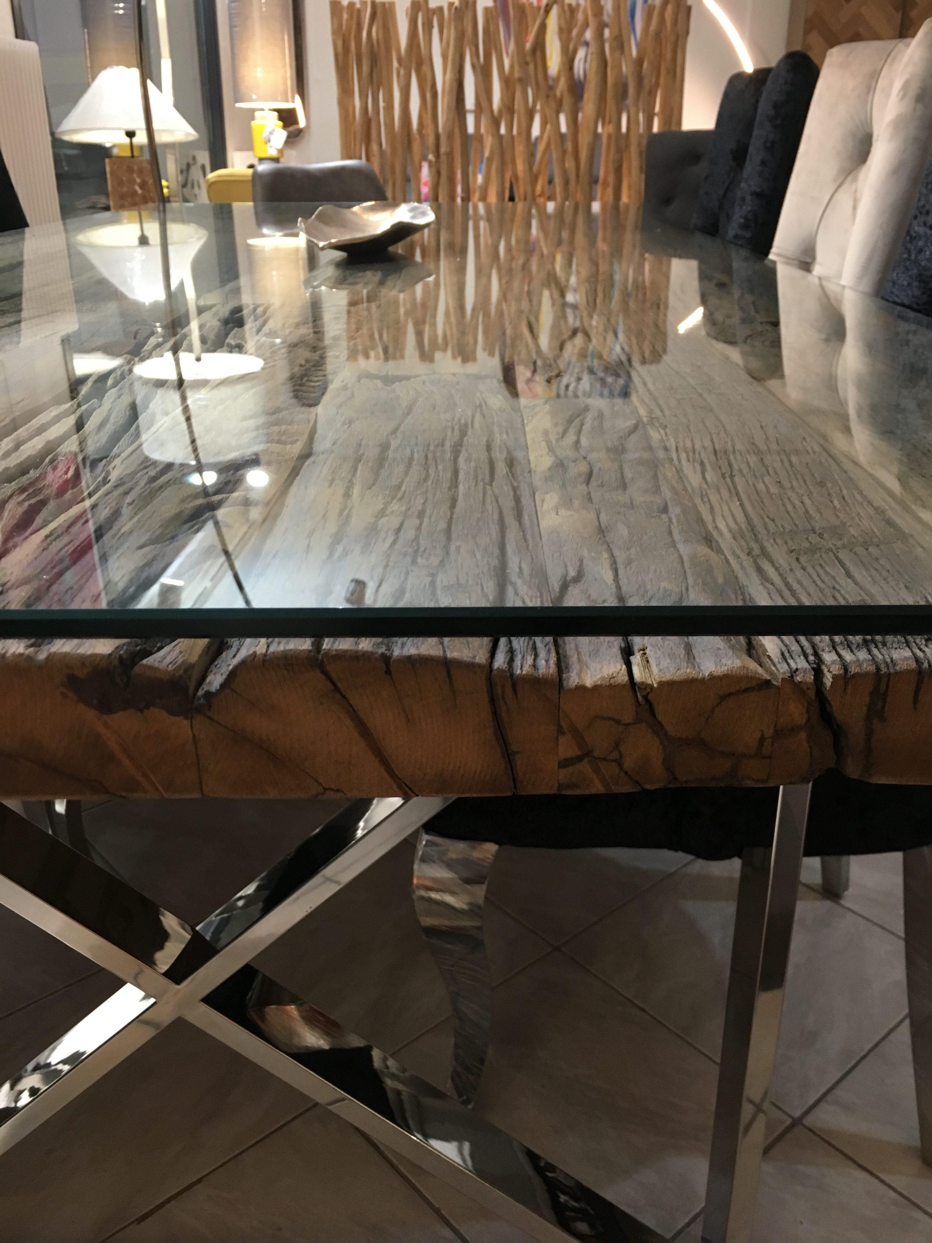 table tendance design bois brut recycle metal chrome plateau verre boisetdeco cambresis nord. Black Bedroom Furniture Sets. Home Design Ideas