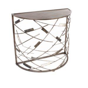 Console demi-lune en metal motif rectangles