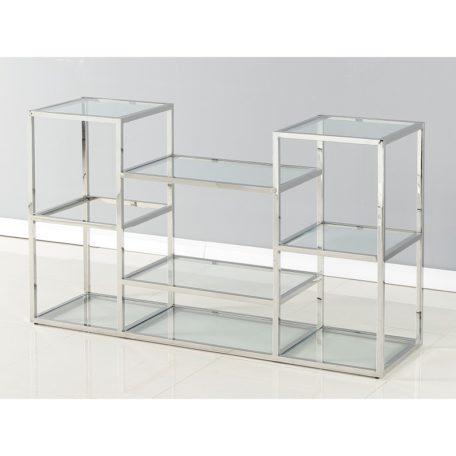 console moderne verre et metal argent chrome