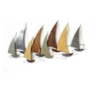Décoration murale bateaux en métal et en bois L.137cm – REGATE BATEAUX