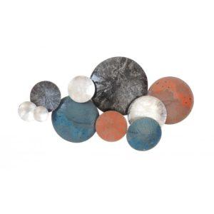 Décoration murale abstraite en métal orange, bleu, noir, argent L.131cm – DISQUES