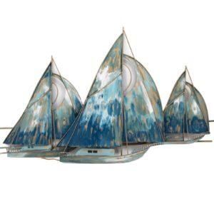 decoration-murale-metal-bateau-regate-voiliers-bleu-beaux-arts-boisetdeco