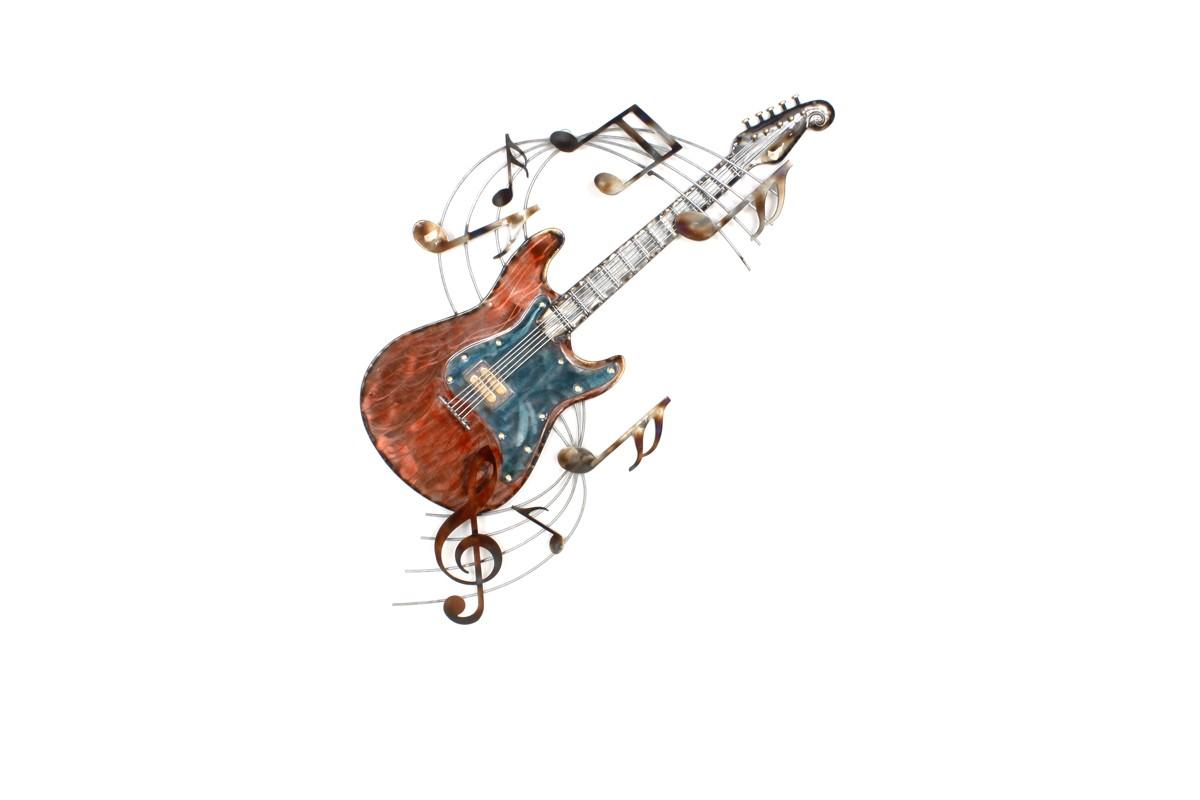 Sculpture Murale Guitare Notes Musique