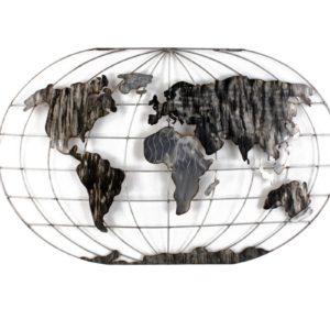 Décoration murale carte du monde en métal gris L.120cm – MAPPEMONDE