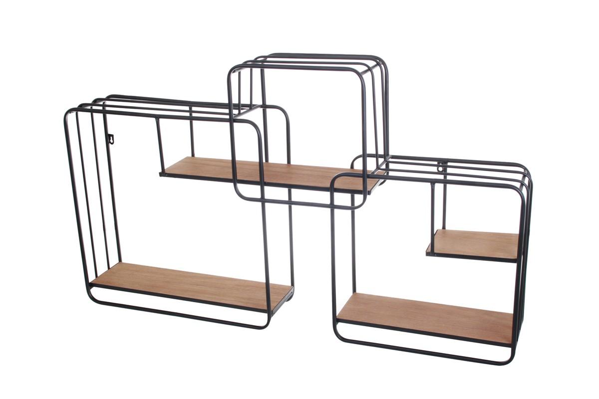 tag re murale industrielle 3 cubes bois et m tal socadis. Black Bedroom Furniture Sets. Home Design Ideas