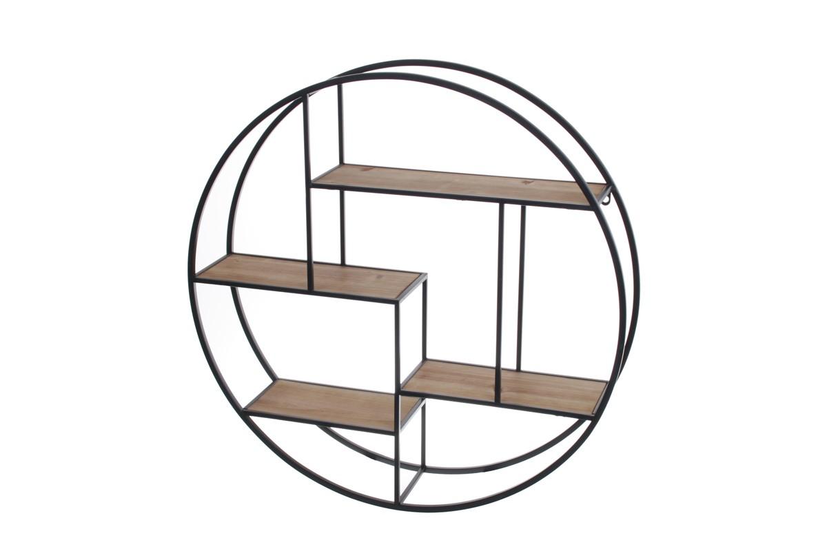 tag re murale industrielle ronde bois et m tal socadis. Black Bedroom Furniture Sets. Home Design Ideas