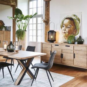 Salle à manger style industriel chêne et métal Ateliers de Langres– HUDSON