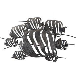 Décoration murale poissons en métal noir L.118cm – POISSONS TROPICAUX