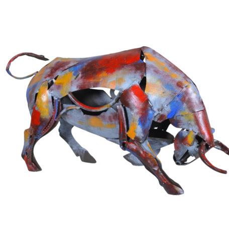 statue-taureau-metal-pigment-couleurs-design-boisetdeco-nord