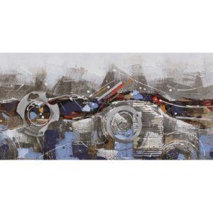 Tableau peinture abstraite avec cercles metalises