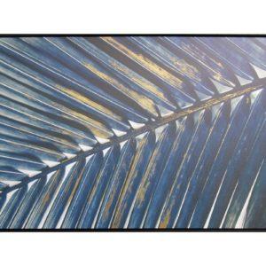 Tableau peinture sur toile 120x80cm Socadis – PALME BLEU EFFET OR