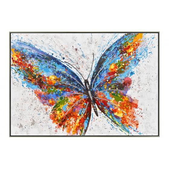 Tableau Peinture Format Carree Papillons Reliefs Effet Or