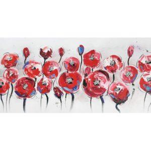 tableau-peinture-fleurs-rouge-argent-coquelicots-metal-decoration-boisetdeco