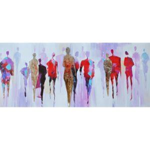 tableau-peinture-foule-colore-multicolore-metal-decoration-boisetdeco