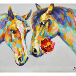 tableau-peinture-main-couple-chevaux-couleur-decoration-boisetdeco-nord