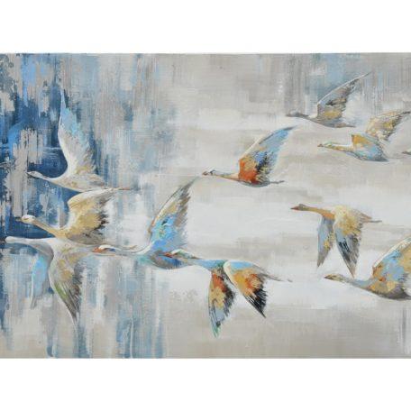 tableau-peinture-main-envolee-oiseaux-bleu-blanc-decoration-boisetdeco-nord