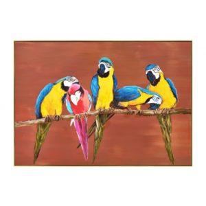 Tableau peinture perroquets sur fond terracotta cadre or.