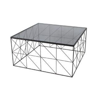 Table basse design plateau carré en verre fumé et pied metal – ELECTROCHIC