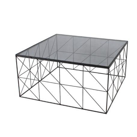 Table basse ELECTROCHIC en metal et verre fume
