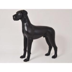 Grande statue chien noir mat