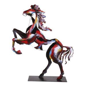 Statue métal couleurs 62cm design Socadis – CHEVAL CABRÉ PIGMENT