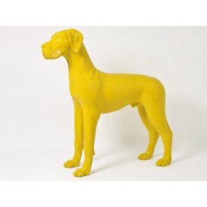 Grande statue chien jaune mat