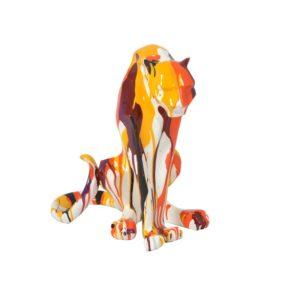 Panthère colorée orange, jaune ,marron, blanc et noir 46cm design Drimmer – TRASH